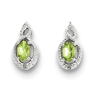 Sterling Silver Peridot & Diamond Post Earring- August Birthstone
