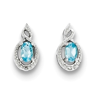 Sterling Silver Blue Topaz & Diamond Post Earrings- December Birthstone
