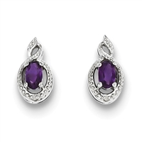 Sterling Silver Amethyst & Diamond Post Earrings-February Birthstone