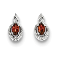 Sterling Silver Garnet & Diamond Post Earrings- January Birthstone