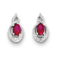 Sterling Silver Ruby & Diamond Post Earrings- July Birthstone