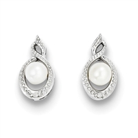 Sterling Silver Pearl & Diamond Post Earrings- June Birthstone