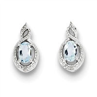 Sterling Silver Aquamarine & Diamond Post Earring- March Birthstone