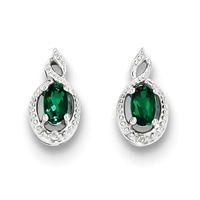 Sterling Silver Emerald & Diamond Post Earrings- May Birthstone