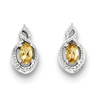 Sterling Silver Citrine & Diamond Post Earrings-  Substitute November Birthstone