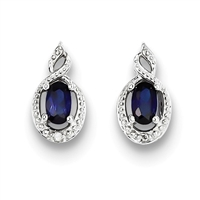 Sterling Silver Sapphire & Diamond Post Earring- September Birthstone