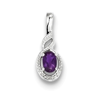 Sterling Silver Amethyst & Diamond Pendant-February Birthstone