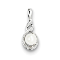Sterling Silver Pearl & Diamond Pendant- June Birthstone