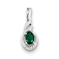 Sterling Silver Emerald & Diamond Pendant- May Birthstone