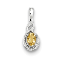 Sterling Silver Citrine & Diamond Pendant-  Substitute November Birthstone