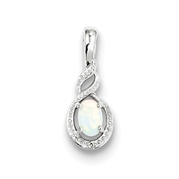 Sterling Silver Opal & Diamond Pendant-October Birthstone