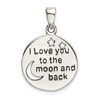 Sterling Silver Pendant- Love You to the Moon & Back