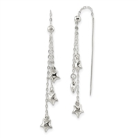 Sterling Silver Threader Earrings- Star