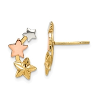 Tri Color Star Post Earrings