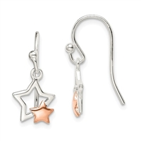 Sterling Silver & Rose Gold Filled Dangle Earrings-Stars