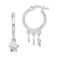 Sterling Silver Hoop Earrings-Stars