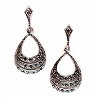 Sterling Silver Marcasite Post Dangle Earrings