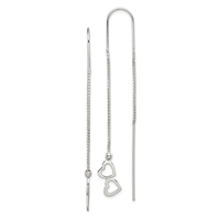 Sterling Silver Threader Earrings- Dangling Hearts