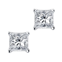 7mm Princess (square) CZ Post Earring-Sterling Silver