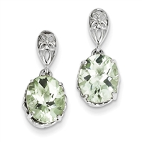 Sterling Silver Post Dangle Earring- Green Amethyst