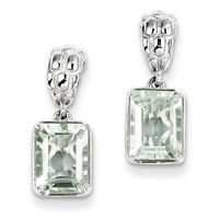 Sterling Silver Green Amethyst Post Dangle Earrings