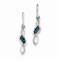 Sterling Silver Blue & White Diamond Post Earrings
