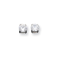 6mm Round CZ Post Earrings-Sterling SIlver