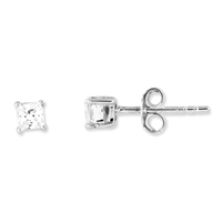 3mm Princess (square) CZ Post Earrings-Sterling SIlver