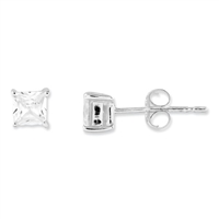 4mm Princess (Square) CZ Post Earrings-Sterling SIlver