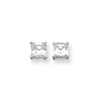 6mm Princess (square) CZ Post Earrings-Sterling SIlver