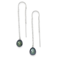 "Sterling Silver Threader Earring- ""Peacock"" Freshwater Pearl"