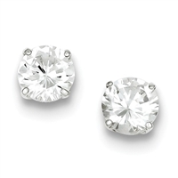 8mm Round CZ Post Earrings-Sterling SIlver