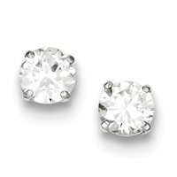 7mm Round CZ Post Earrings-Sterling SIlver