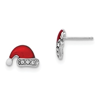 Sterling Silver Post Earring-Enamelled Santa Hat