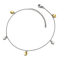 Stainless Steel Polished Yellow IP-plated Hearts