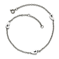 Stainless Steel Polished Heart Anklet