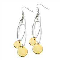 Stainless Steel Yellow IP-plated Circles & Oval Dangle Earrings