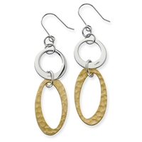 Stainless Steel Yellow IP-plated Circles Link Earrings