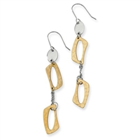 Stainless Steel Yellow IP-plated Square Link Earrings