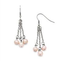 Stainless Steel & Freshwater Pearl Drop Earrings