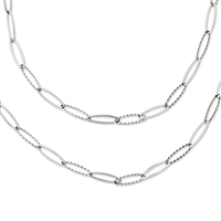 Stainless Steel Tiered Oval Necklace