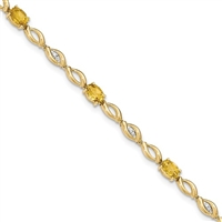 14K Citrine & Diamond Bracelet