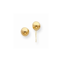 14K Yellow Gold 6mm Polished Ball Post Earring