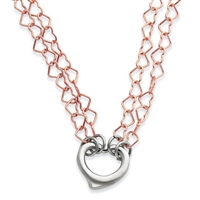 Sterling Silver & Rose Gold Filled Heart Necklace