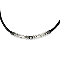 Stainless Steel, Leather, Hematite Necklace