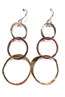 Mixed Metal Drop Circle Earrings