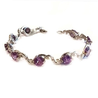 Sterling Silver Bracelet- Lab Created Alexandrite & Cubic Zirconia