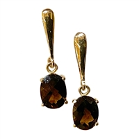 14k Gold Post Dangle Earrings-Smoky Quartz