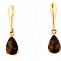 14k Rose Gold Post Dangle Earrings-Smoky Quartz