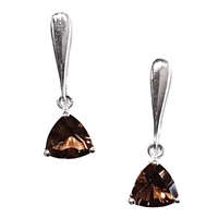 Sterling Silver Post Dangle Earrings- Smoky Quartz